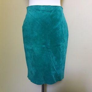 Vintage POSITANO PELLE teal suede Pencil skirt 2 8